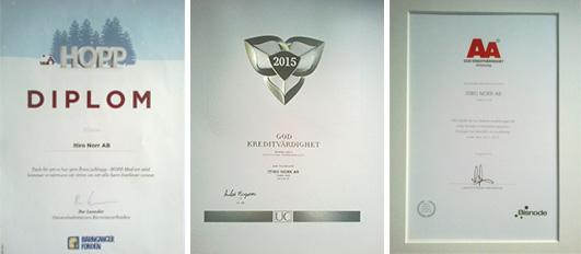 Diplom och certifikat